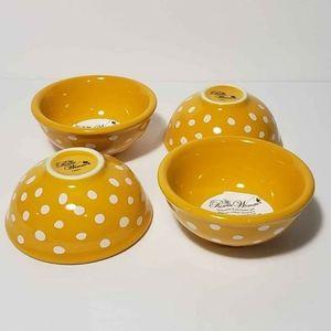Pioneer Woman Yellow Polka Dot Dip Bowls